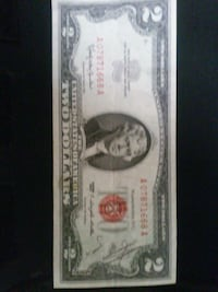 RARE Almost perfect 1963 A, red star 2dollar bill.