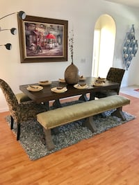 Beautiful dining room table chairs and benches farmhouse rustic style!