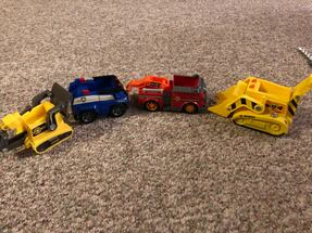 Paw patrol vehicles.