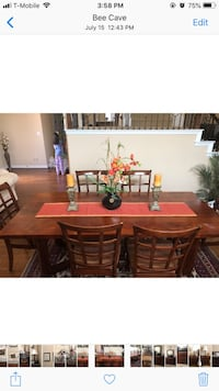 Rectangular brown wooden table with six chairs dining set Bee Cave, 78738