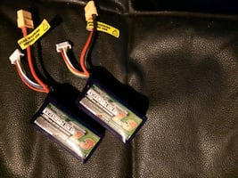 Two 4S 14.8V 1300 mah, lipo batteries RC teleguide.