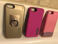 Three gray, purple, and pink iphone case