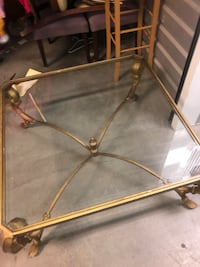 brown metal framed glass top table Las Vegas, 89183