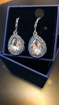 Gorgeous little swing earrings with a light blue and blue gems New York, 11209