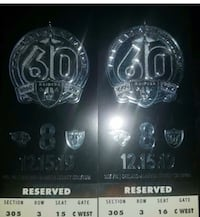 OAKLAND RAIDERS TICKETS -Last Game Ever in Oakland. Discovery Bay, 94505