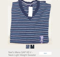 men's blue and gray stripe GAP v-neck light weight sweater Erie, 16501