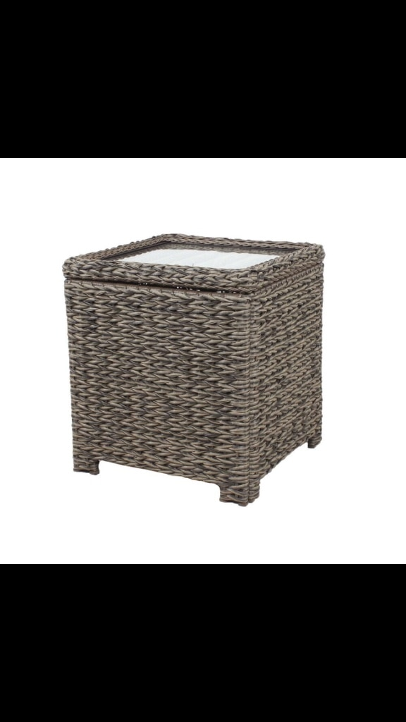 Hampton Bay Laguna Point Square Wicker Outdoor Accent Table With Captured  Glass Top ($79)