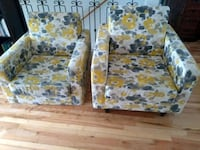 two white-and-yellow floral sofa chairs Montreal, H4G 2Y7