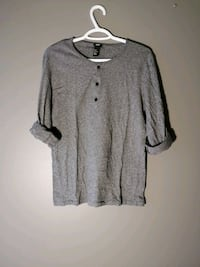 H&M Cotton Jersey Henley Shirt - Grey Guelph
