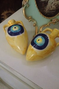yellow black and blue ceramic ornament