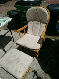 brown wooden framed white padded glider chair Colorado Springs, 80918