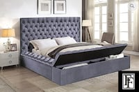 0001 – GREY VELVET FABRIC BED WITH 3 STORAGE BENCHES Toronto