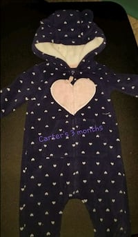 3 months black and white Carter hearts print zip-u Denver, 80236