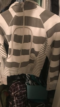 black and white striped zip-up hoodie
