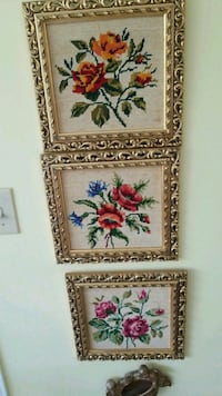 three brown wooden framed paintings of flowers Montréal, H3R 2E6