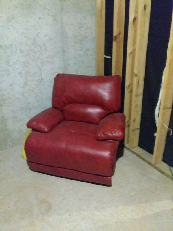 Used Red Leather Sofa Chair With Ottoman For Sale In Lithonia Letgo