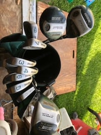 Spaulding Executive XE Ladies 3,4,5,6,7,8,9 and 1,3,5 alloy drivers in Emerald green and golf bag Cranberry Township