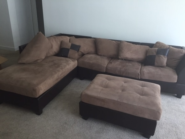 L-shaped Couch with Ottoman