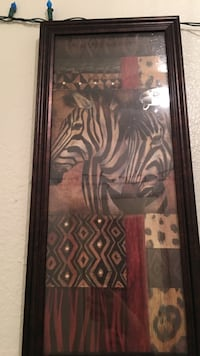 two Zebras framed painting