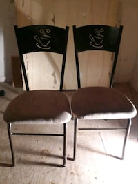 two brown wooden framed white padded chairs Clinton, 20735