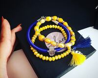 yellow, blue, and red beaded bracelet Montréal, H1G 2G8