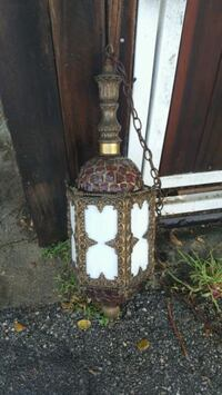 Antique Brass Hanging Lamp With Mosaic Glass. Los Angeles, 91607