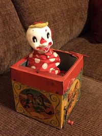 "Vintage Mattel Cardboard Tin Jolly Tune Clown ""jack in the box""1950's"