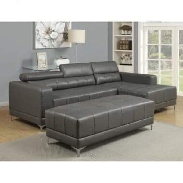Black leather sectional and ottoman