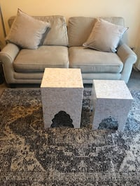 "New 6 pieces living room set large beige sofa 2 pillows 2 mosaic tables 5x7"" rug message me if you interested pick up in Gaithersburg Maryland 20877 all sales final Gaithersburg, 20877"