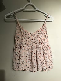 pink, gray and black floral spaghetti strap cami