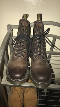 Pair of brown Dr. Martens leather combat boots Sterling Heights, 48313