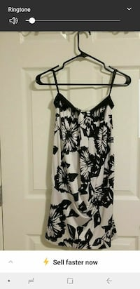 women's black and white floral spaghetti-strap top Calgary, T2N 4N8
