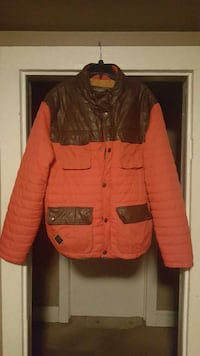 orange and brown button-up bubble jacket