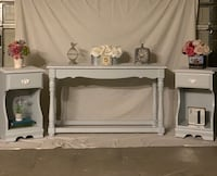 Gray wooden sofa table with matching end tables Rancho Cucamonga, 91739