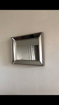 Square stainless steel frame wall mirror