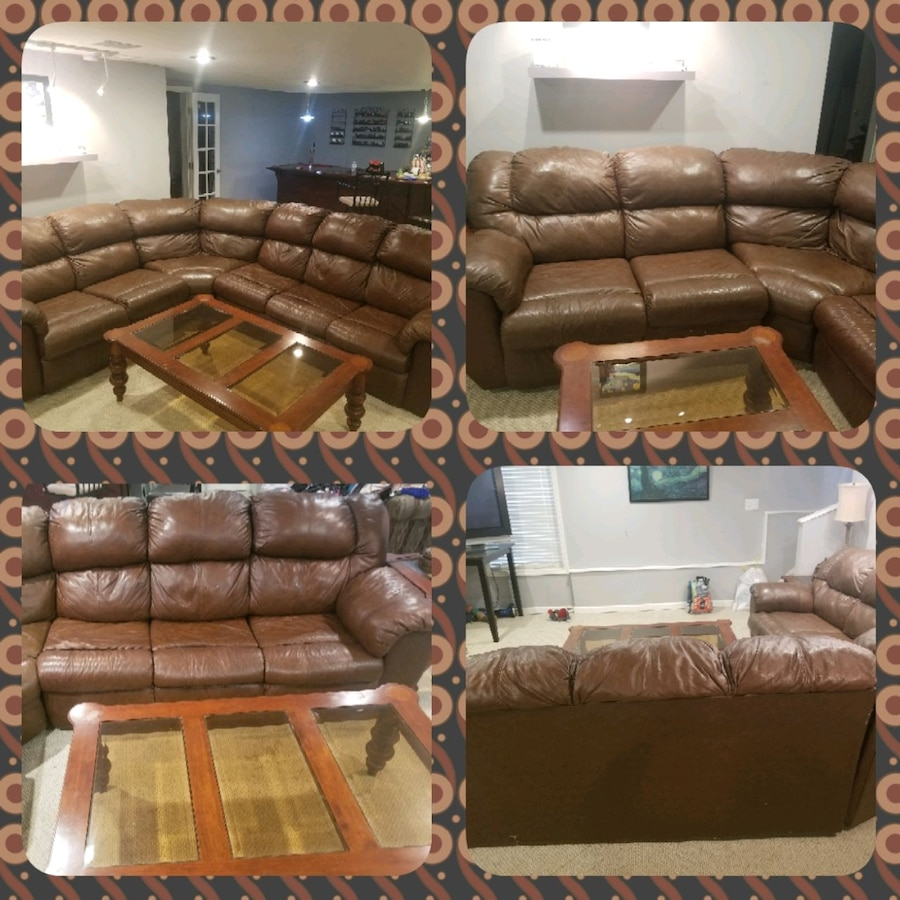 - Sold Havertys Real Leather Sectional With 2 Recliners And Sleeper