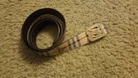 white Burberry leather belt