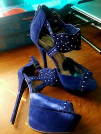 blue suede peep-toe heeled shoes size 8 Redding, 96003