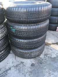 Set 265/70 R17 GOODYEAR WRANGLER ST used 95% life $300 includes professional installation and tax. Whittier, 90605