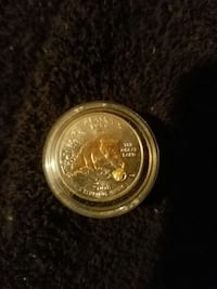 Alaska state quarter with 18k gold nugget and 18k Las Vegas, 89129