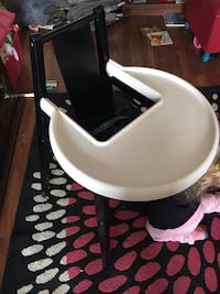 white and black high chair