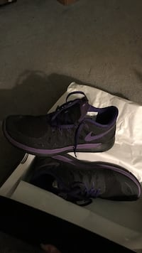 Purple-and-black nike sneakers