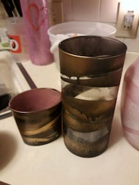 two brown wooden candle holders Gastonia, 28052