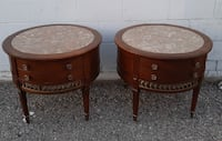 Pair of Large marble top, solid wood side tables Toronto, M2J 2C2