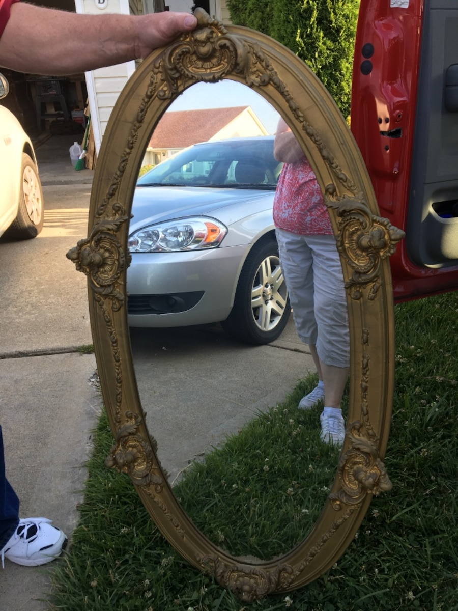 Antique Large oval ornate mirror - $40