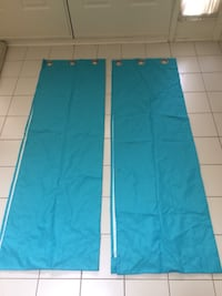 Two blue curtains