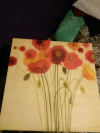 red, yellow, and orange flowers painting