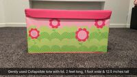 Green and pink floral collapsible tote with lid. Franklin, 53132