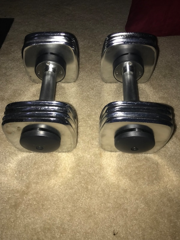 Exercise bench with 25lbs dumbbells set