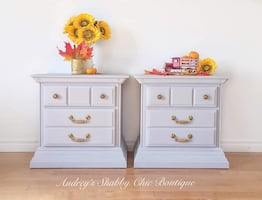 Grey Farmhouse Style End Tables or Nightstands